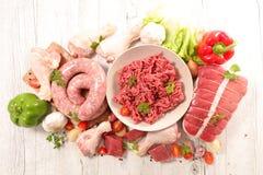 原始被分类的肉 库存照片