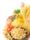 原始食物健康的意大利面食 免版税库存照片