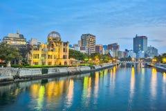 原子弹爆炸圆顶屋或原子弹圆顶在广岛,日本 免版税库存照片