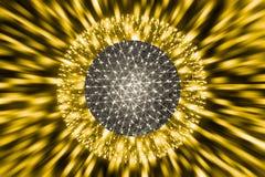 原子球中坚力量或核爆炸光芒辐射光科学 免版税库存图片