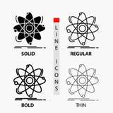 原子,科学,化学,物理,在稀薄,规则,大胆的线和纵的沟纹样式的核象 r 皇族释放例证