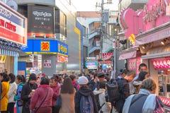 原宿,东京,日本- 2018年12月21日:原宿街道视图 库存照片