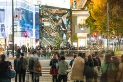 原宿,东京,日本- 2015年11月18日:繁忙的原宿主要斑马c 库存图片