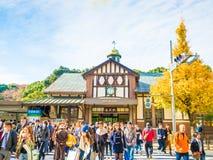 原宿,东京,日本- 2016年12月:人群步行和  图库摄影