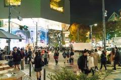 原宿,东京,日本- 2015年11月18日:繁忙的原宿主要斑马c 图库摄影