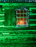 原木小屋窗口 库存图片