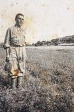 原物1910年年轻意大利农民葡萄酒照片  库存图片