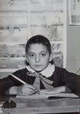 原物1950年葡萄酒照片年轻男孩基本的学生 库存照片