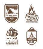 原野和自然探险葡萄酒传染媒介标签,象征,商标,徽章 库存例证