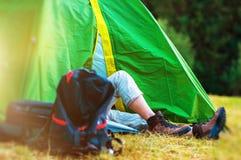 原野帐篷野营 库存照片