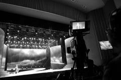 厦门与一台摄象机的电视台摄制 免版税库存照片