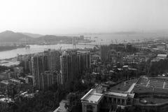 厦门港区和haicang桥梁,黑白图象 免版税库存图片