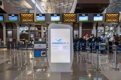 厦门空气登记处柜台在雅加达Soekarno哈达国际机场 库存照片