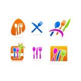 厨具叉子刀子匙子象商标 免版税库存图片