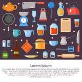 厨具,炊具,厨房用工具加工汇集 厨房集合器物 现代平的象设置了,图表元素,对象 免版税库存照片