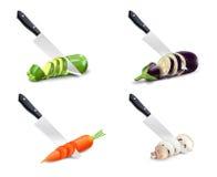 厨刀和菜3D集合 免版税库存照片