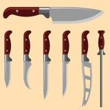厨刀武器钢锋利的匕首金属军事危险金属剑传染媒介例证 免版税库存图片