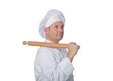 在白色背景隔绝的专业厨师 免版税库存图片