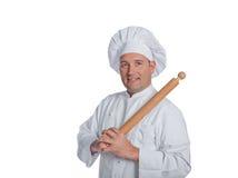在白色背景隔绝的专业厨师 免版税库存照片