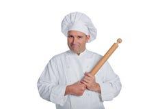 在白色背景隔绝的专业厨师 库存图片