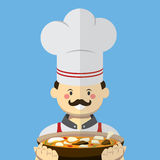厨师传染媒介平的样式 库存图片