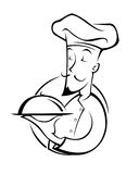 厨师例证剪影 免版税库存照片