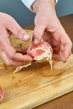 厨师准备羊羔肋骨烹饪过程 图库摄影