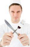 厨师刀叉餐具英俊的藏品 库存图片