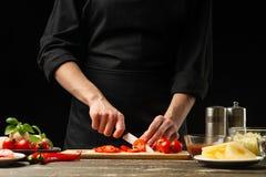 厨师切与菜的西红柿 对比萨的准备,西红柿酱,沙拉 一个可口膳食概念, 免版税库存图片