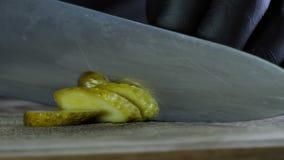 厨师切盐味的黄瓜,被隔绝的黑背景,汉堡的成份 影视素材