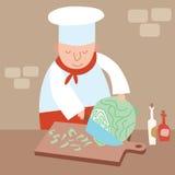 厨师切细圆白菜餐馆厨房 免版税库存图片