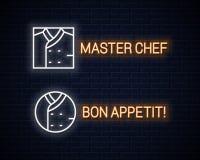 厨师制服霓虹灯广告 在墙壁背景的厨师夹克线性霓虹集合 皇族释放例证