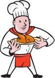 厨师厨师烤鸡盘动画片 免版税库存图片