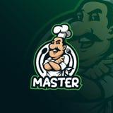 厨师吉祥人商标与现代例证概念样式的设计传染媒介徽章、象征和T恤杉打印的 微笑厨师 库存例证
