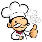 厨师吉祥人手最佳的姿态。工作和工作字符设计 库存图片