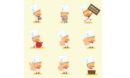厨师吉祥人设置了4 免版税图库摄影