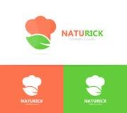 厨师和叶子商标组合 厨房和eco标志或者象 独特的有机厨师和餐馆略写法设计 免版税库存图片