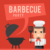 厨师和烤肉格栅概念 免版税库存照片