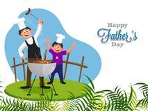 厨师和父亲教他的烤肉的儿子,愉快的父亲和 免版税图库摄影