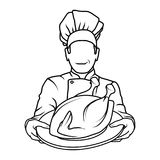 厨师和chichen或火鸡 免版税库存照片