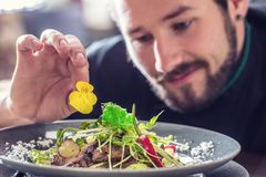 厨师在准备与牛肉片断的旅馆或餐馆里沙拉  免版税库存照片
