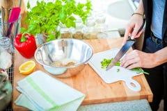 厨师在厨房里在工作 图库摄影