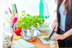 厨师在厨房里在工作 免版税库存照片