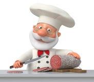 厨师在厨房里用香肠 免版税库存图片