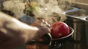 厨师在有菜的盘子上把从格栅的热的肉放 影视素材