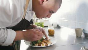 厨师在餐馆供食在板材的炸鸡 股票录像