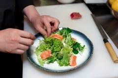 厨师做生鱼片鱼开胃菜 库存图片