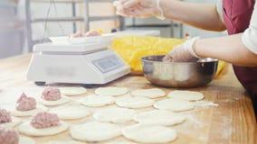 厨师填装的肉为饼做准备在面包店 股票视频