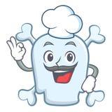 厨师头骨字符动画片样式 向量例证