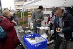 厨师学校救世军的鹤龄捐赠 库存照片